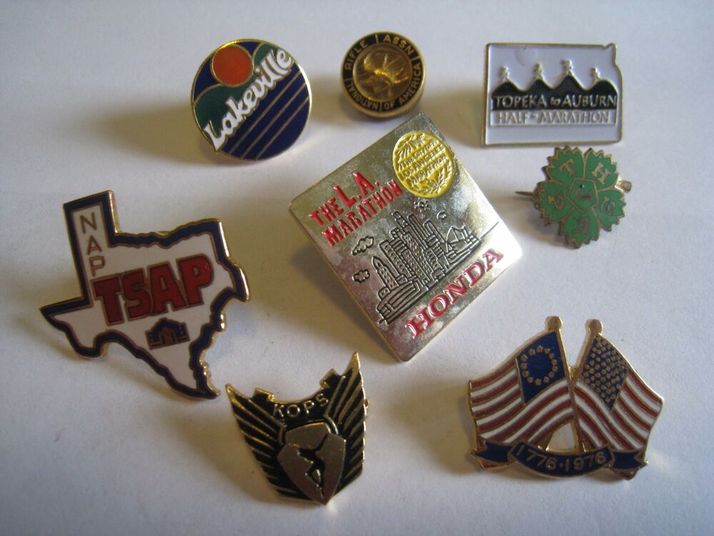 Lot Of 8 Lapel Scatter Pins Marathons Nra Patriotic