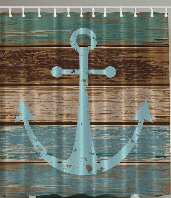 Rustic Distressed Wooden Deck Plank Nautical Boat SHIP Anchor Shower ...