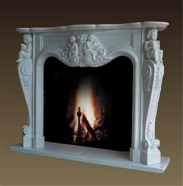HAND CARVED CHERUB MARBLE FIREPLACE MANTEL TLH105