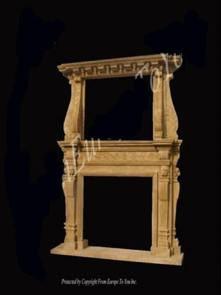 Beautiful large antique carved solid marble fireplace mantel fpm98 ebay - Solid stone fireplace mantels with nice appearance ...