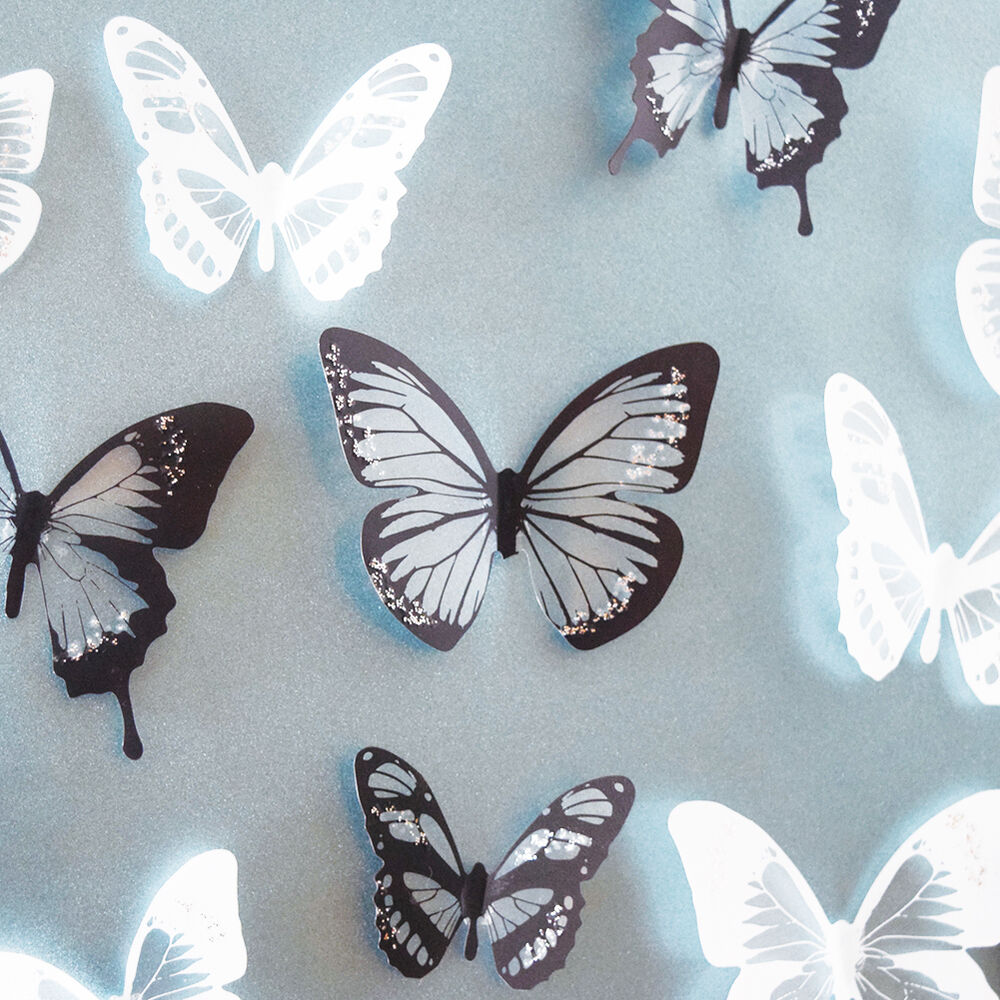 White Butterfly Wall Decor Target : Pcs black white butterfly art decal wall stickers home