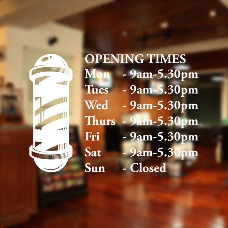 Barber Shop Opening Times Window Sticker Wall Decal Custom