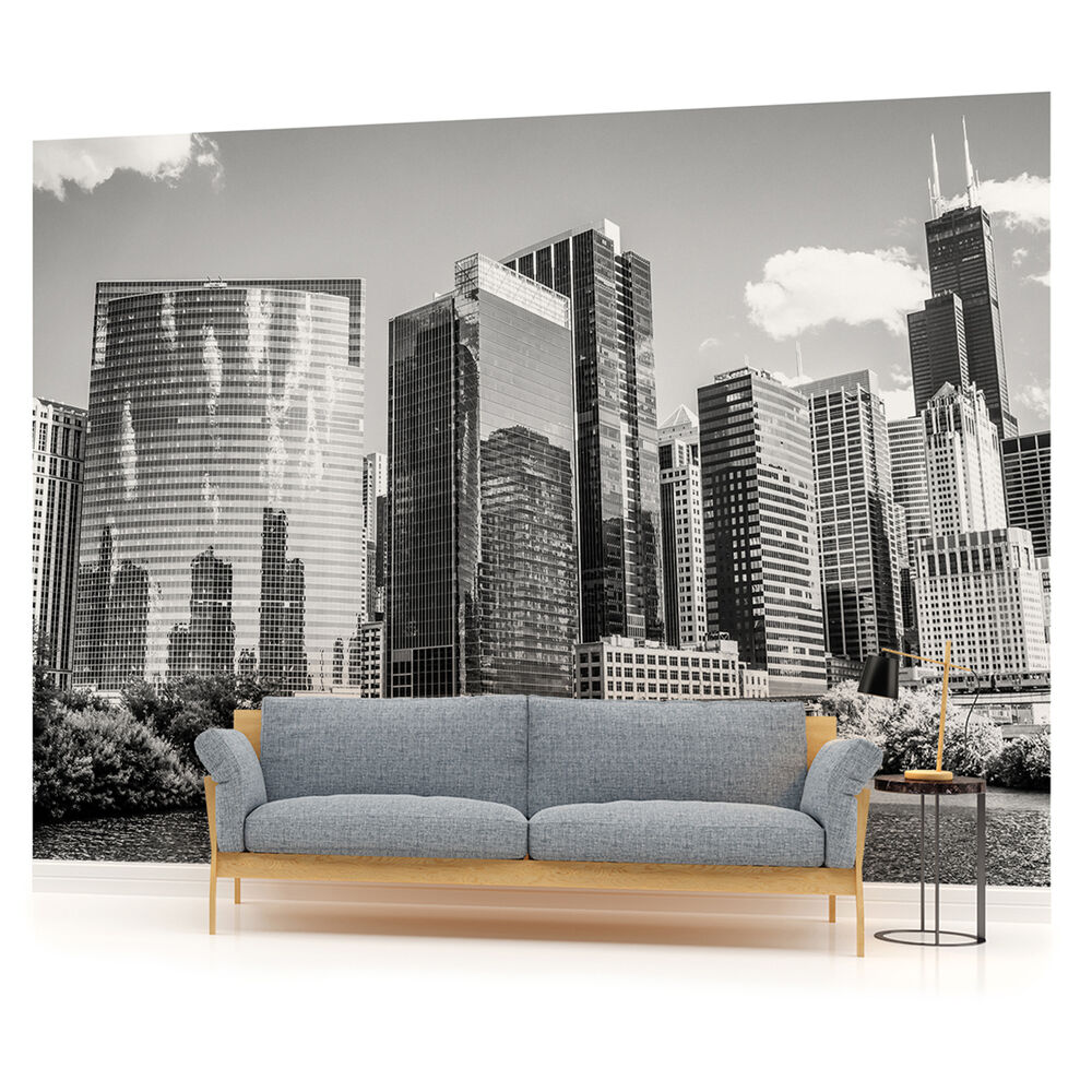 Black white chicago city urban photo wallpaper wall mural for Chicago skyline mural wallpaper