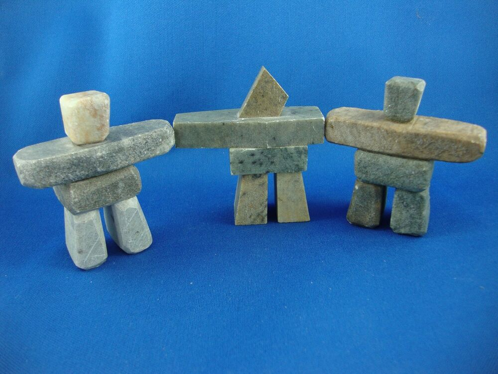 Three Pieces 3 Quot Inukshuk Carving Soapstone Inuit And