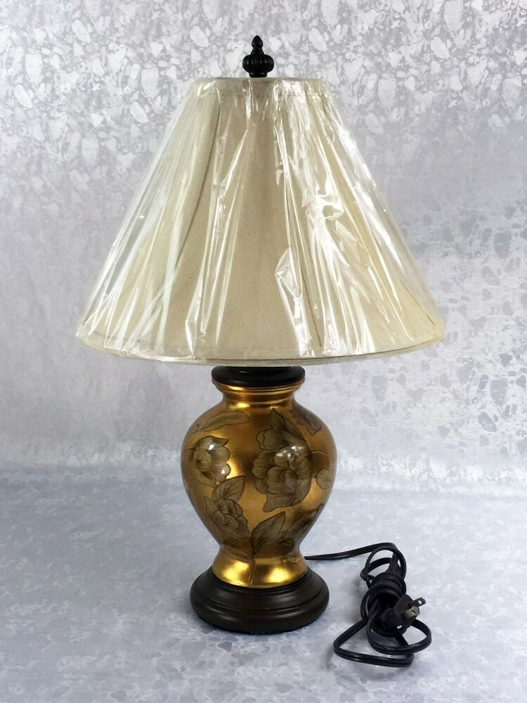Gold floral ceramic table desk lamp w brown accents for Brown table lamp shades