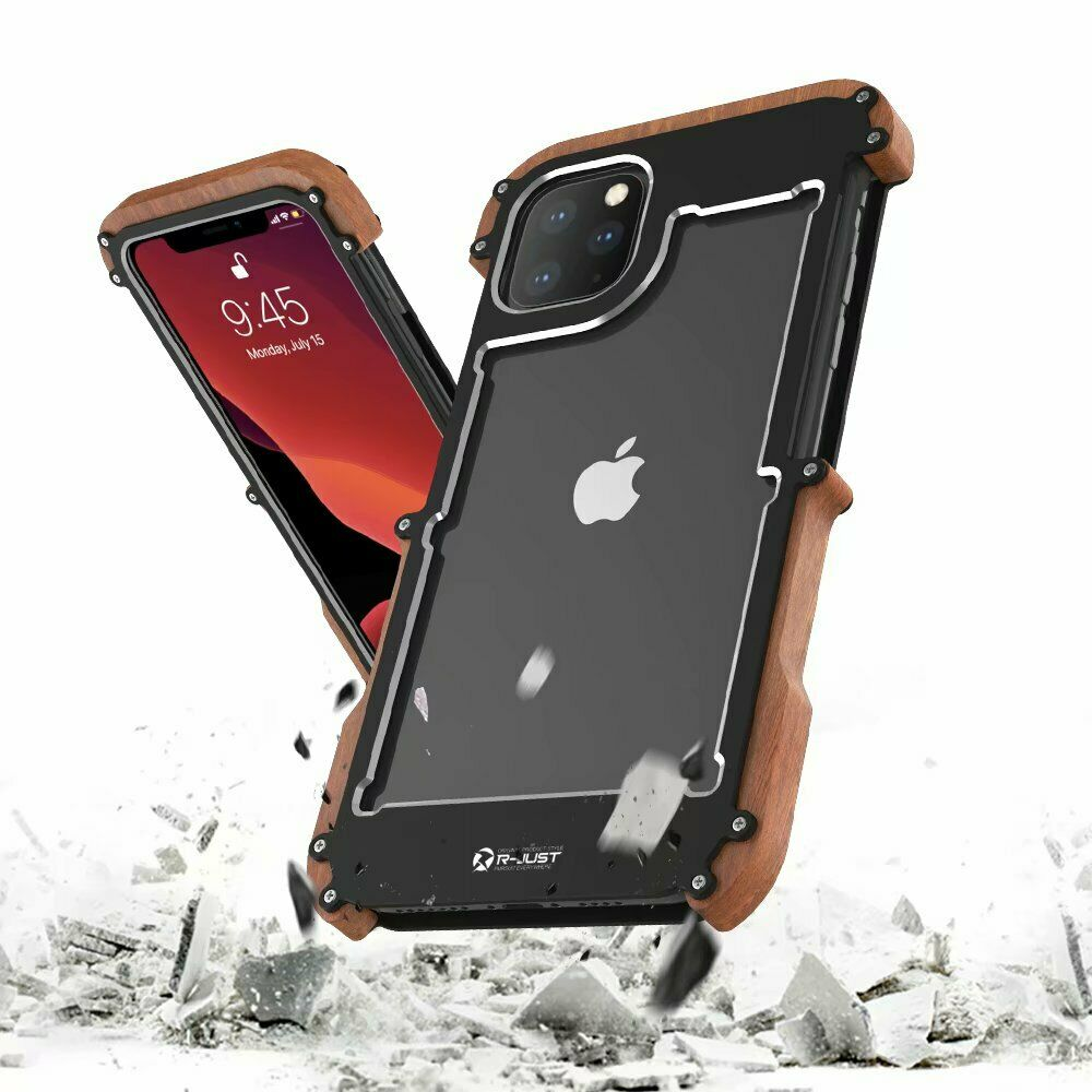wood iphone 5 case luxury aluminum metal real wood bamboo bumper back cover 6486