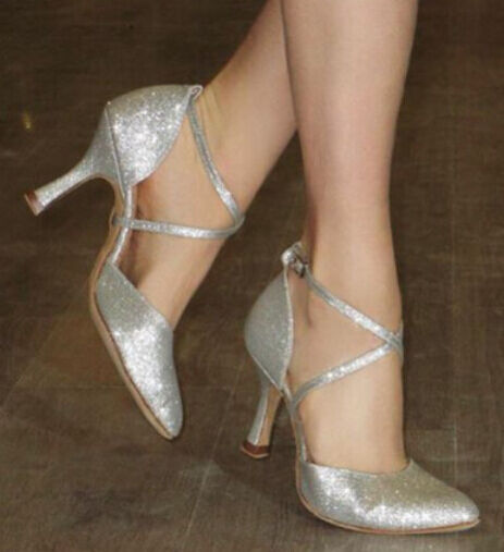 Silver Closed Toe Dancing Shoes