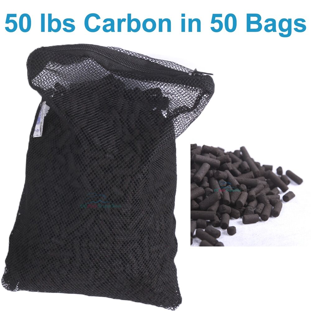 50 lbs activated carbon in 50 media bags for aquarium fish for Charcoal fish tank filter