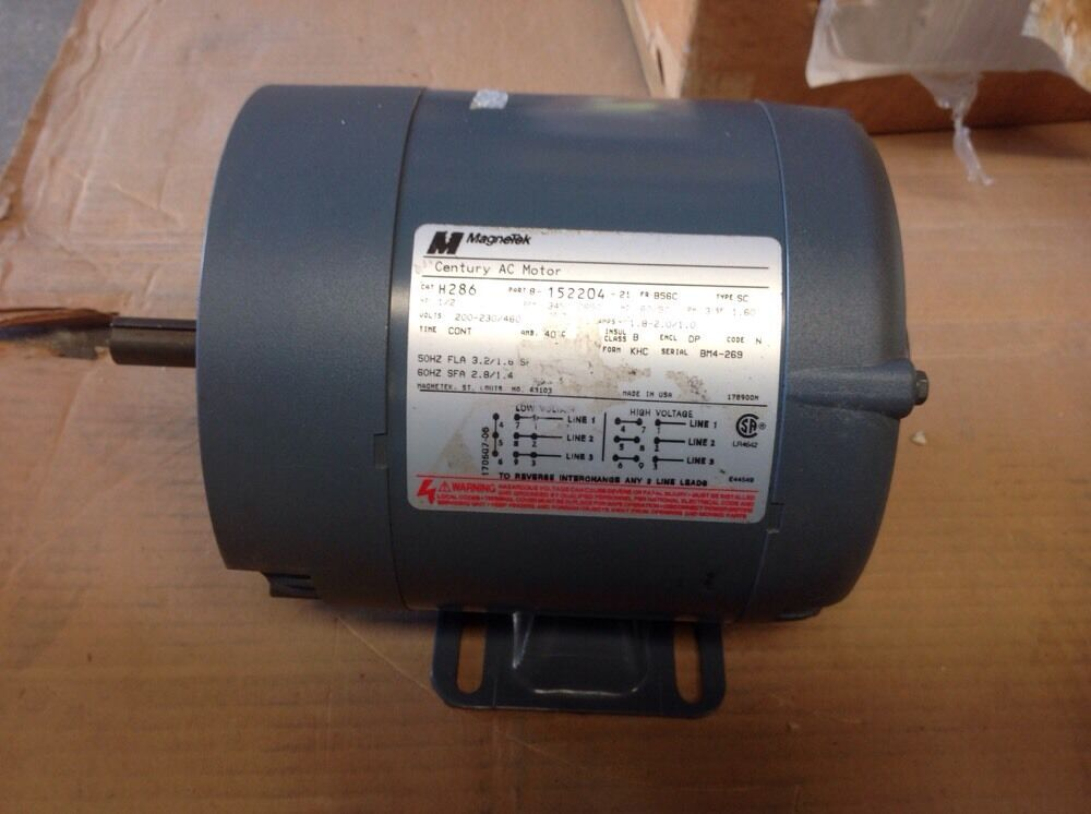 H286 1 2 hp 3600 rpm new magnetek ao smith electric for Ao smith 1 2 hp motor
