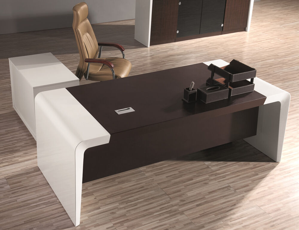 Gloss White Executive Desk Set With Return And Pedestal 2