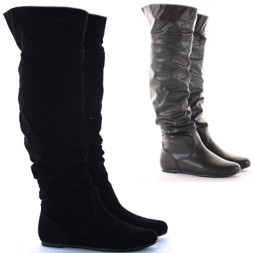 womens black flat heel the knee thigh high