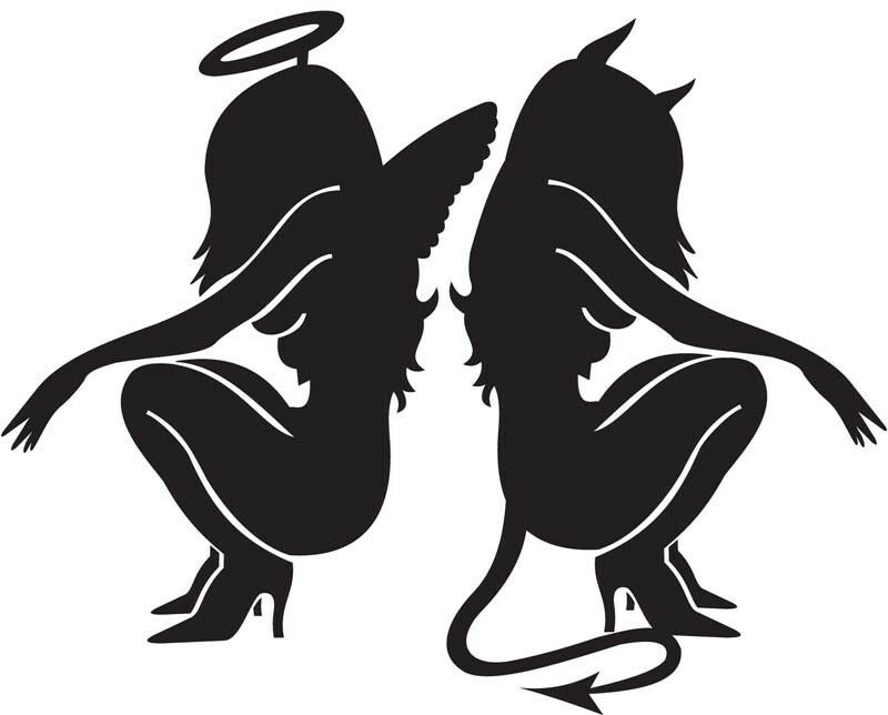 Devil Angel Sexy Girl Die Cut Vinyl Decal Window Car Truck