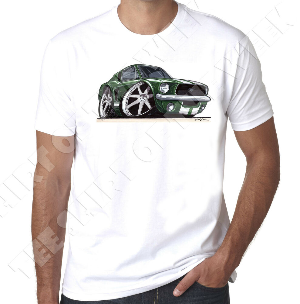 wickedartz cartoon car bullitt ford mustang steve mcqueen white t shirt ebay. Black Bedroom Furniture Sets. Home Design Ideas