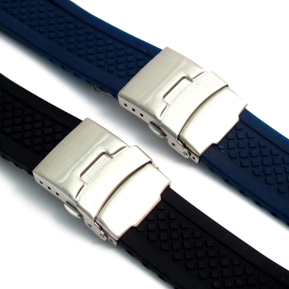 Silicone Deployment Mens Watch Band Strap 20mm 22mm (Style