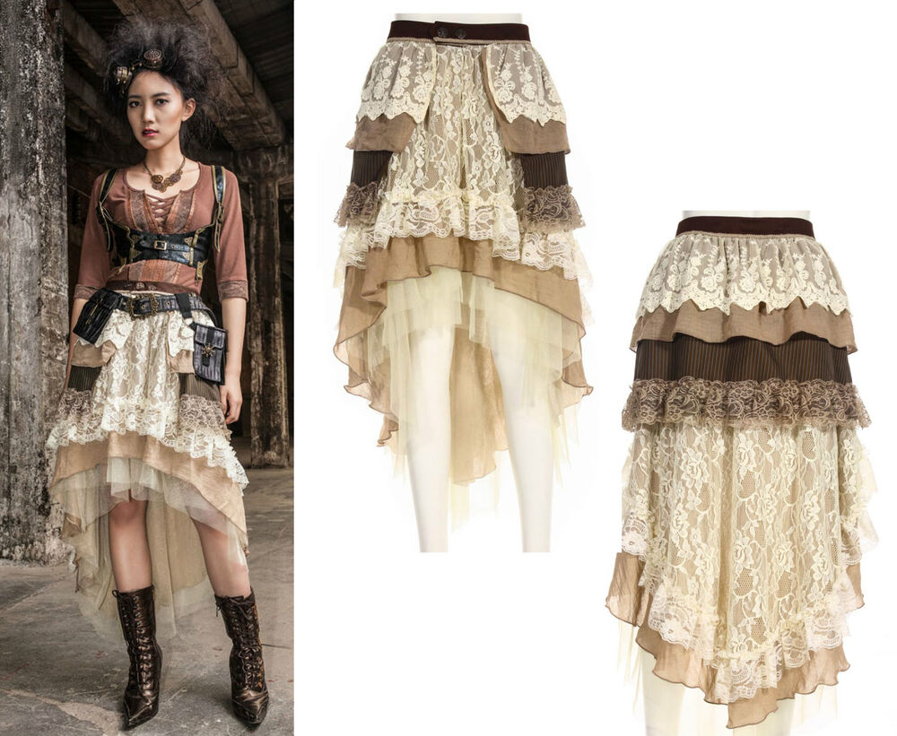rq bl steampunk rock 2 tlg set gothic g rtel vintage skirt spitze beige sp089 ebay. Black Bedroom Furniture Sets. Home Design Ideas