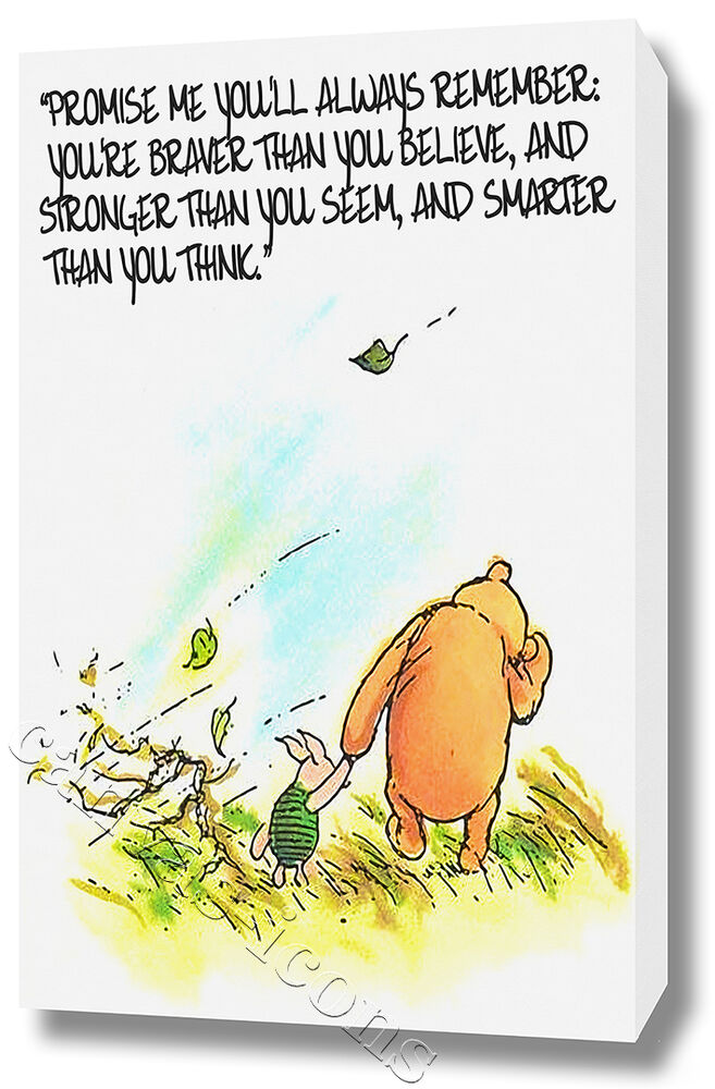 winnie the pooh wall art canvas print poster photo picture quote nursery ebay. Black Bedroom Furniture Sets. Home Design Ideas