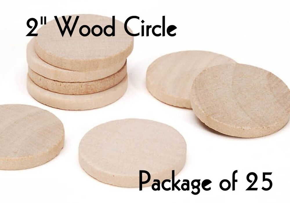Circle 2 wood cutout craft shape unfinished lot for Wood circles for crafts