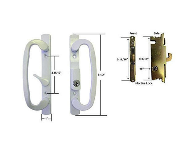 Glass Patio Door Handle Set With Mortise Lock White