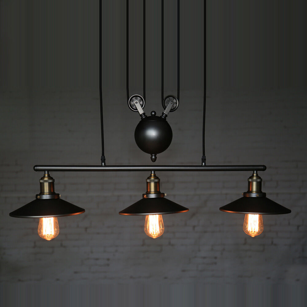 3-Head Pulley Chandelier Iron Ceiling Light Bar Retro
