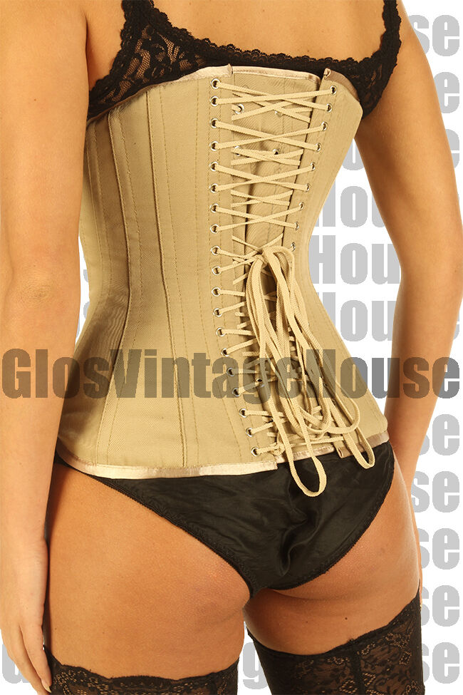 Beige Tan Cotton Corset Back Lacing Victorian Style Full