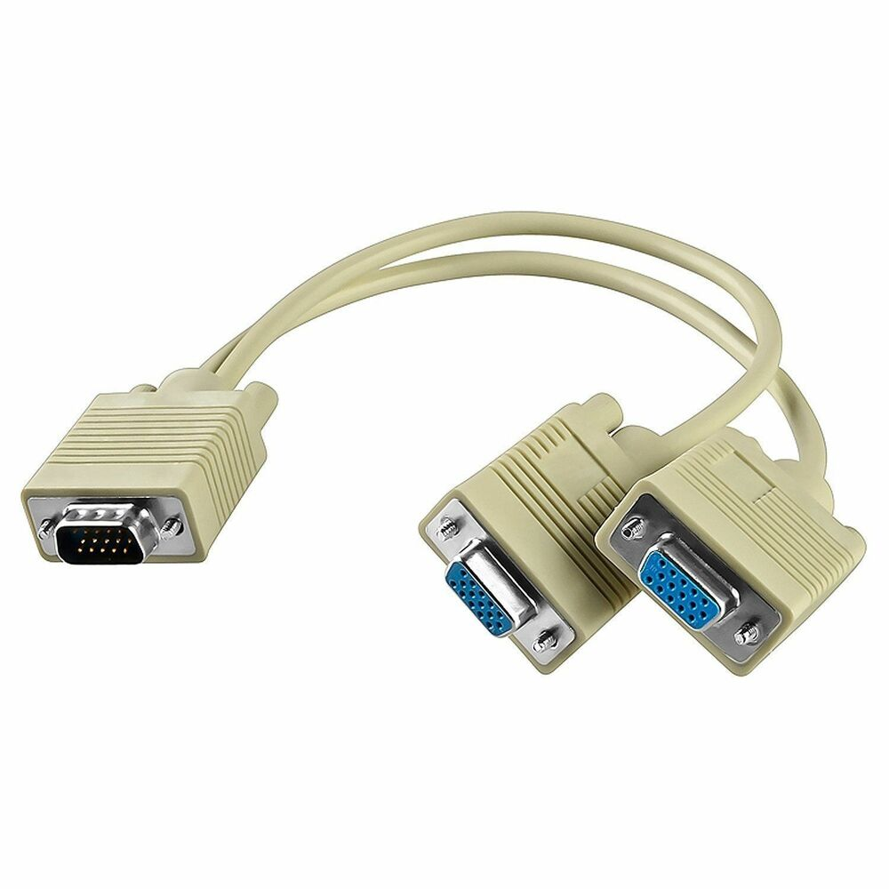 Computer Monitor Cable : New vga svga y splitter lcd led monitor video cord cable