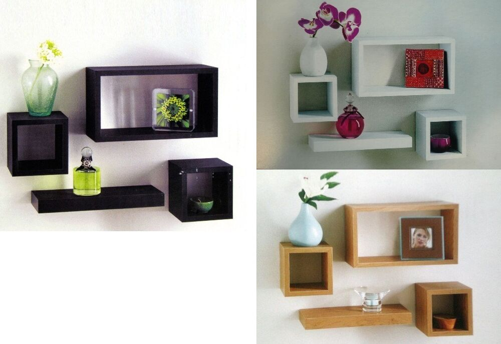Wooden Wall Mounted Retro Floating Cube Shelving Storage