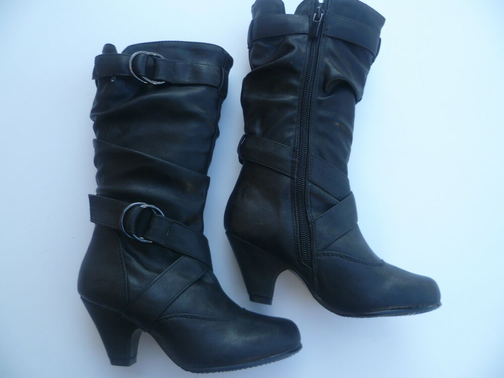 black boots shoes youth size 9 12 ebay