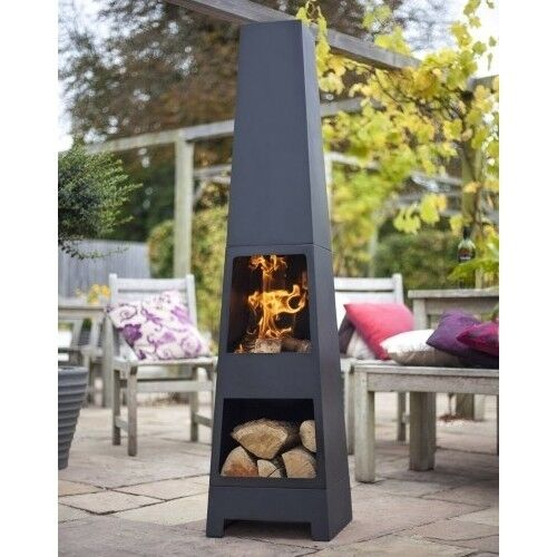 Steel Chiminea Outdoor Patio Fireplace Backyard Garden