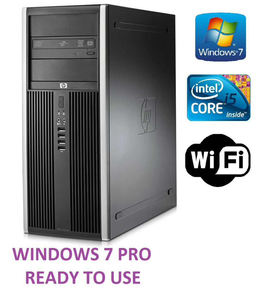fast hp tower pc intel quad core i5 computer 250gb 4gb pc win 7 pro wifi ebay. Black Bedroom Furniture Sets. Home Design Ideas