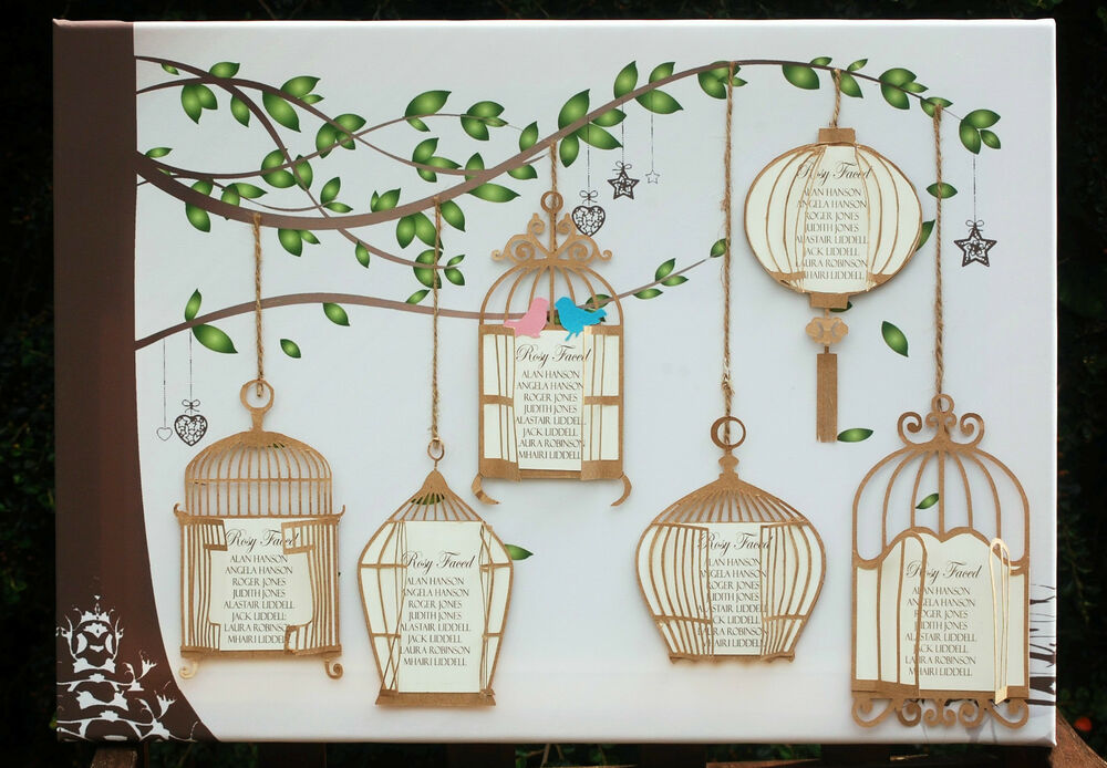 large a1 a2 canvas wedding table seating plan antique vintage bird cages ebay. Black Bedroom Furniture Sets. Home Design Ideas