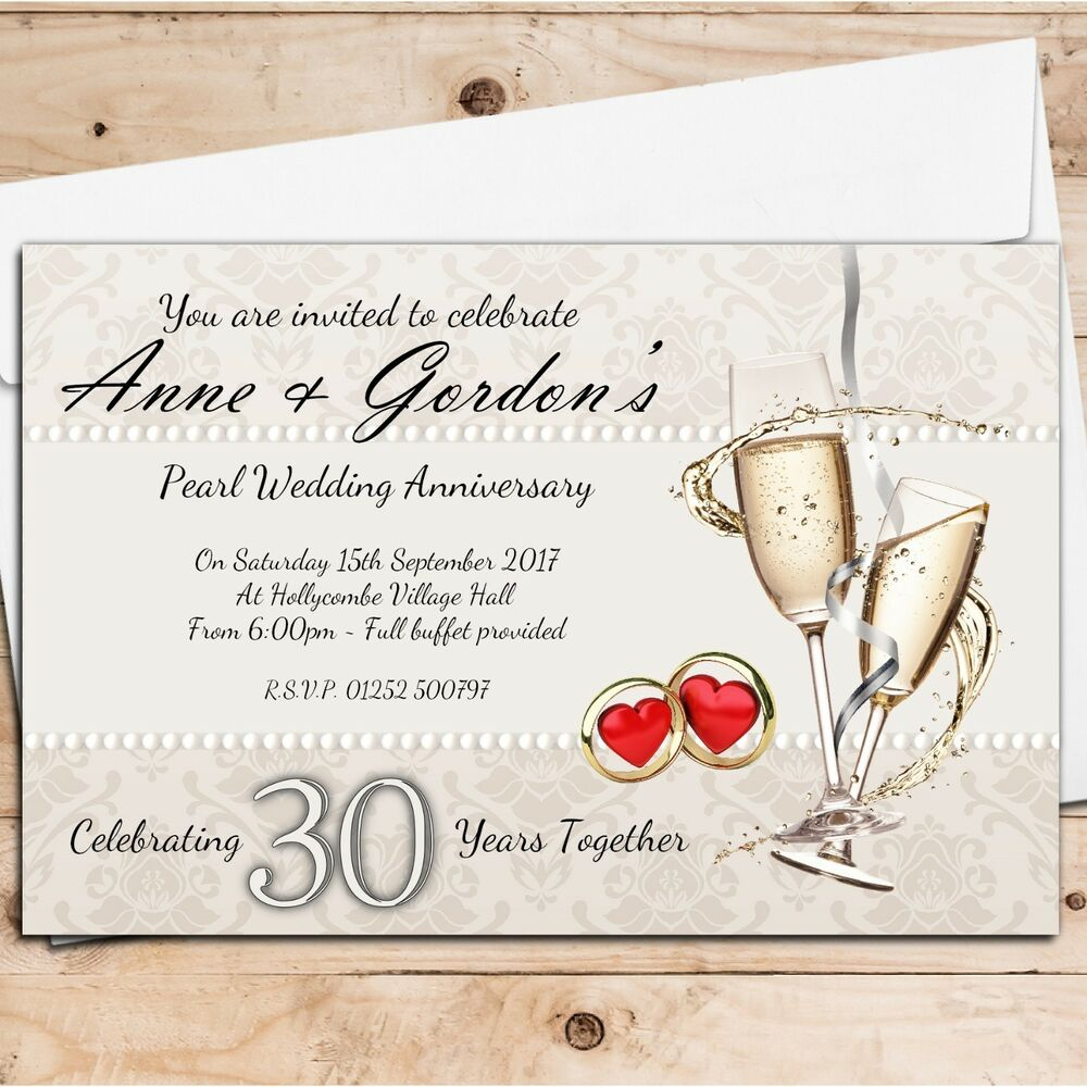 10 Year Wedding Anniversary Invitations: 10 Personalised 30th Pearl Wedding Anniversary Invitations