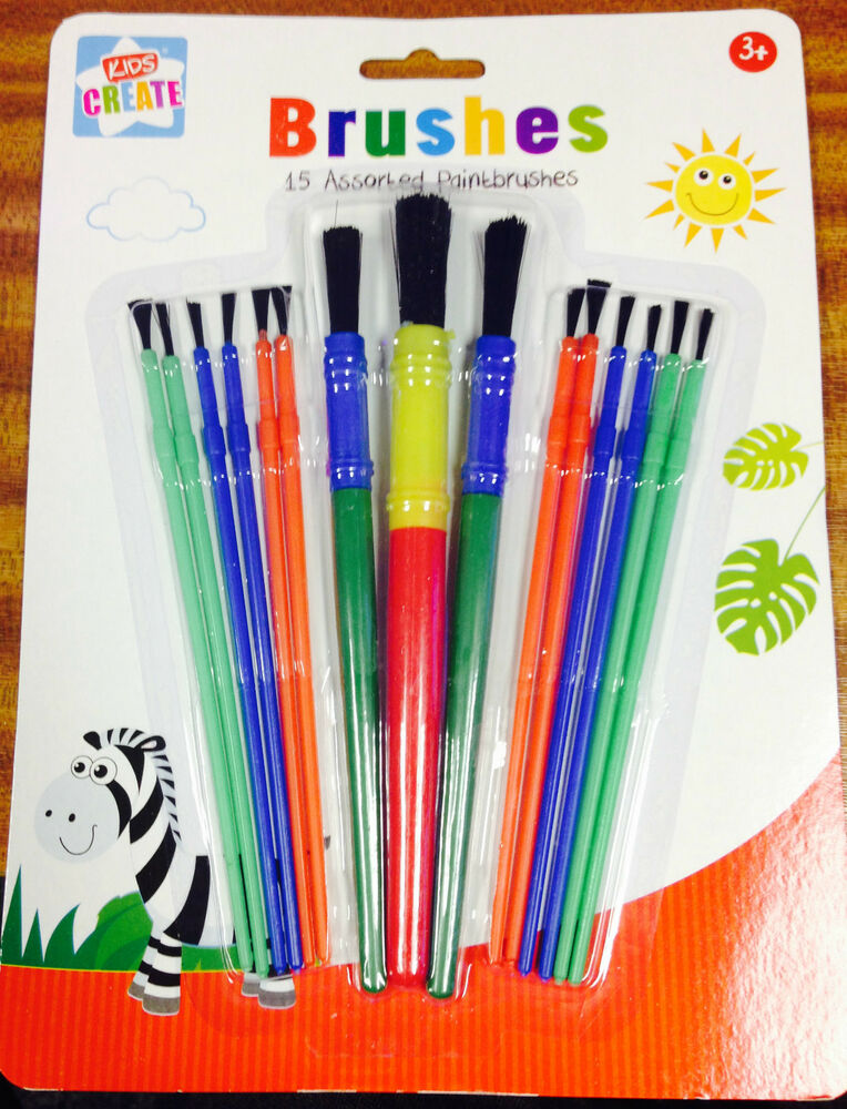 15 assorted paint brush set kids child painting art craft for Arts and crafts sets for toddlers