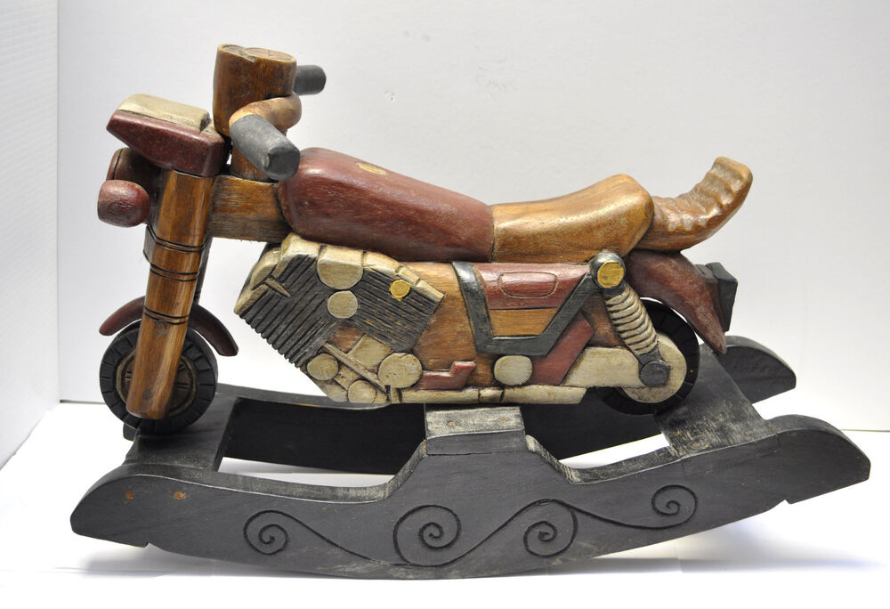 Antique style handmade wooden motorcycle design decorative for Scooter rocking horse