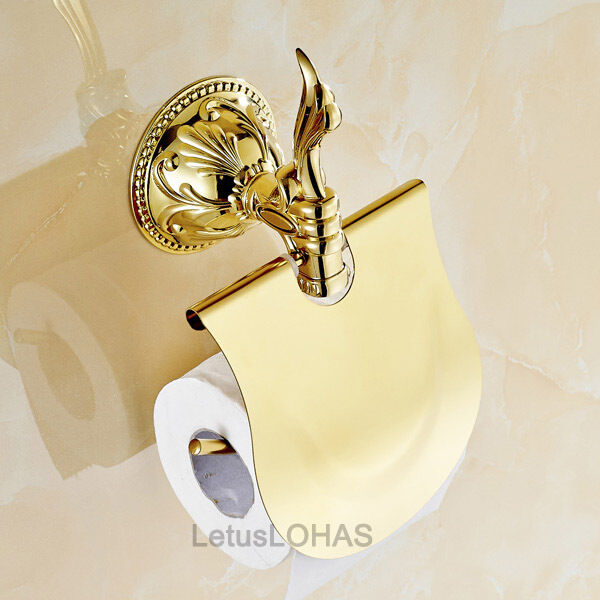 Luxury Gold Polished Bathroom Toilet Paper Holder Wall Mount Roll Tissue Brac