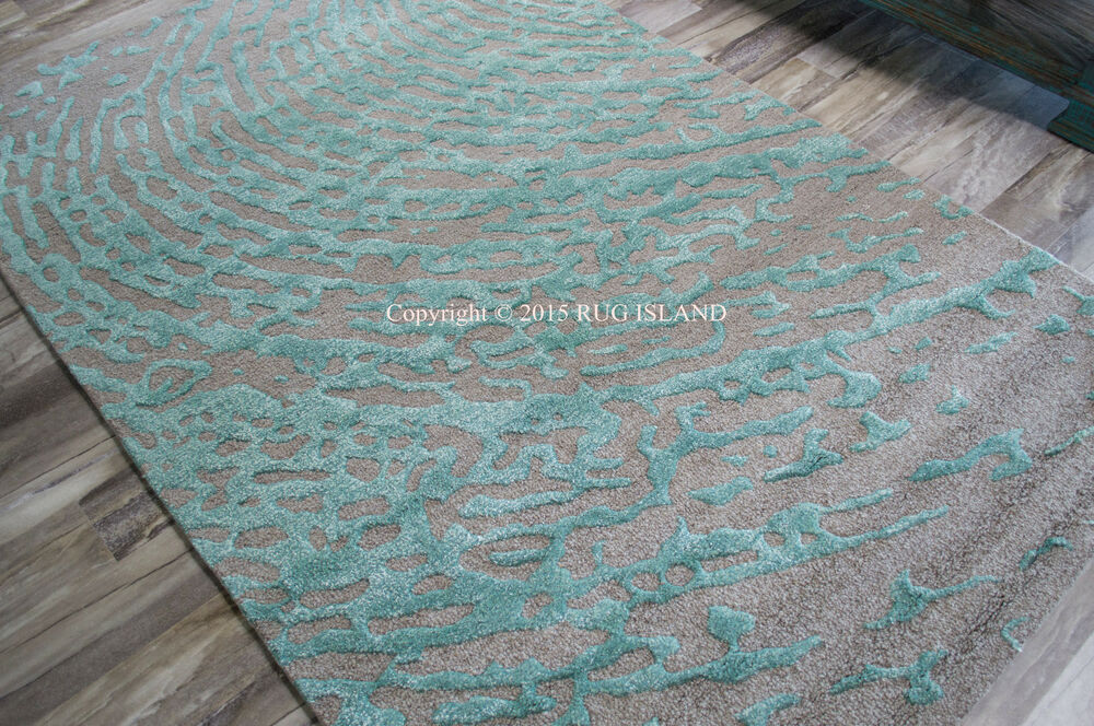 9x12 designer modern contemporary turquoise aqua teal gray for Modern wool area rugs