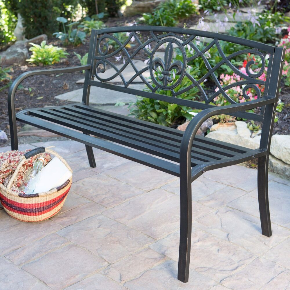 Outdoor Bench Patio Metal Garden Furniture Deck Porch Seat Backyard Park Chair Ebay