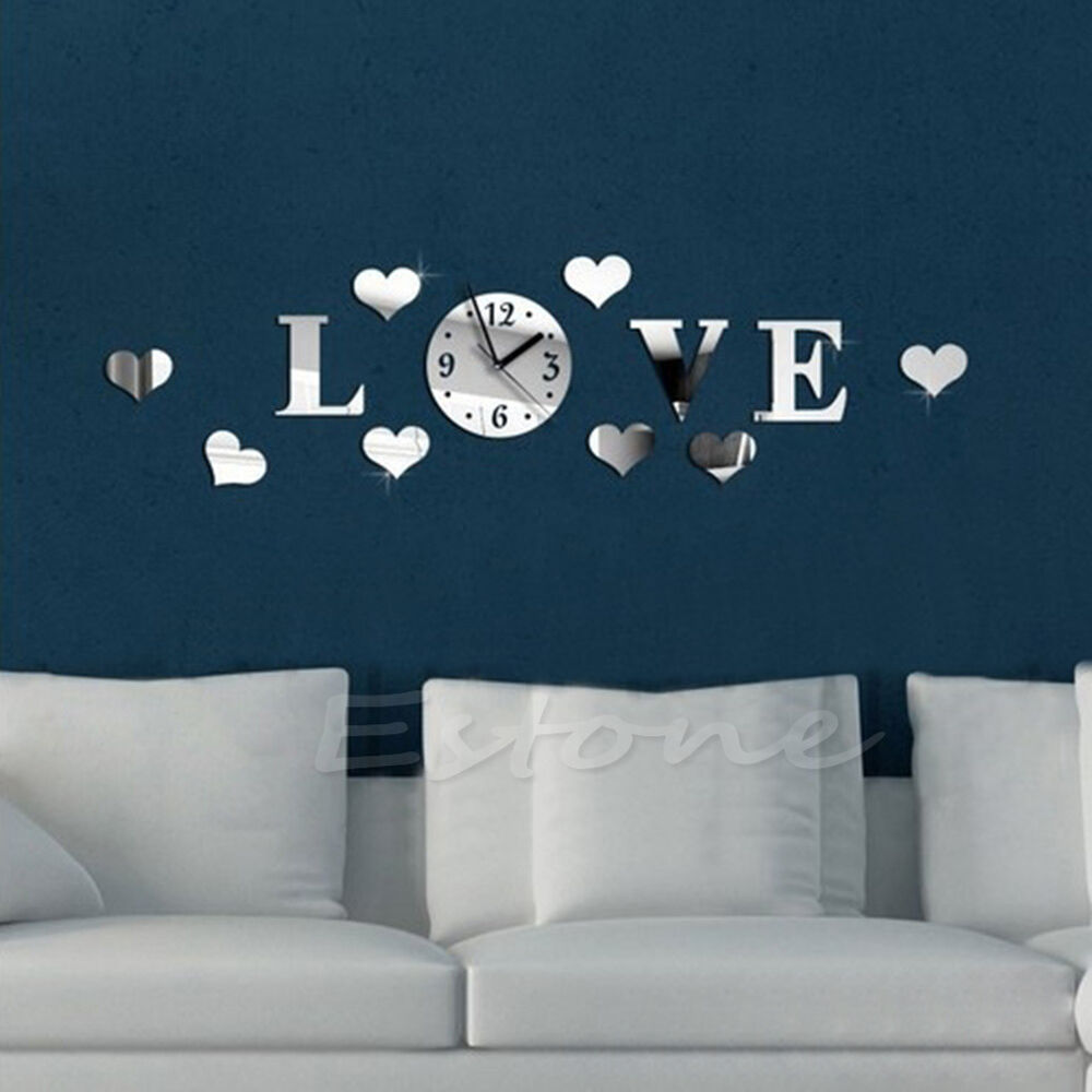 Diy 3d love wall clock crystal mirror living room stickers for 3d acrylic mirror wall sticker clock decoration decor