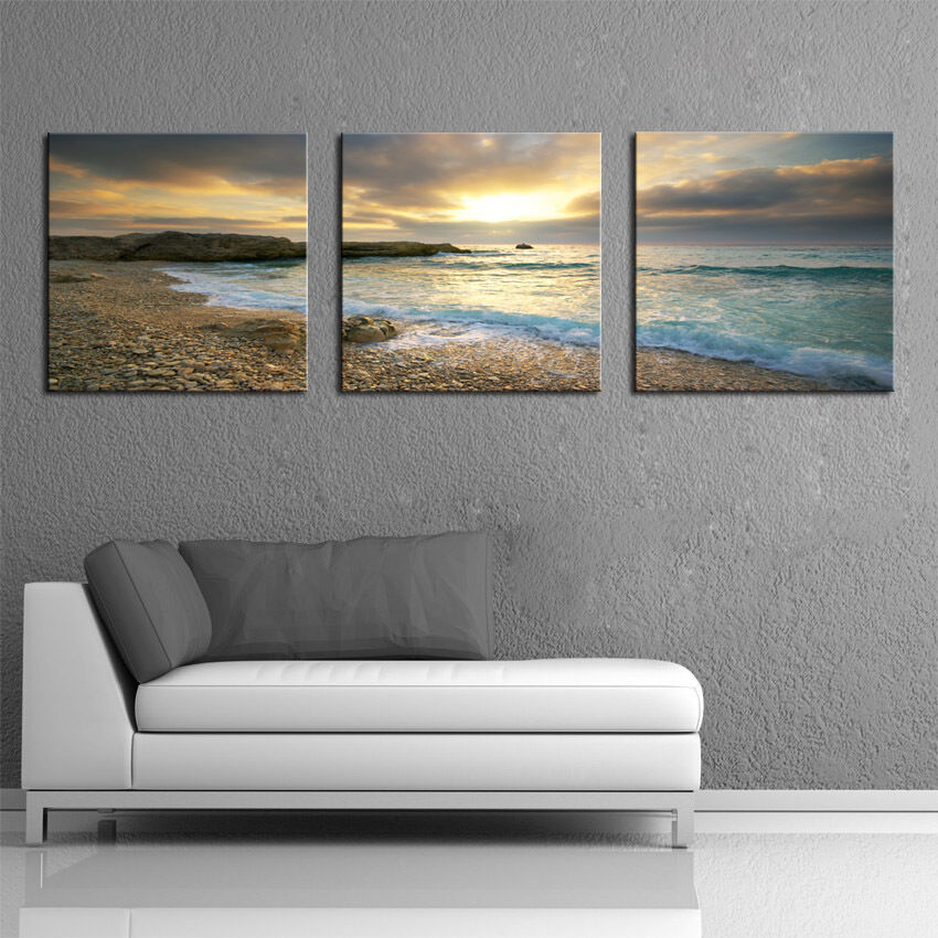 Framed home decor wall art canvas print beach seascape for Paintings for house decoration