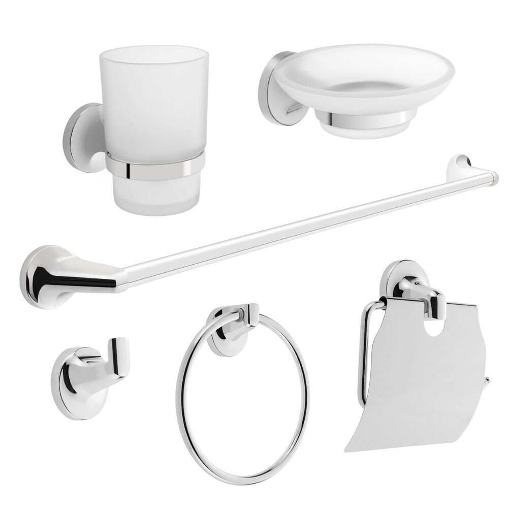 savisto bathroom accessories livorno wall mounted chrome 6 piece set fittings ebay. Black Bedroom Furniture Sets. Home Design Ideas