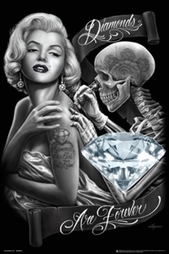 diamonds are forever poster dga 24x36 tattoo marilyn monroe ebay. Black Bedroom Furniture Sets. Home Design Ideas