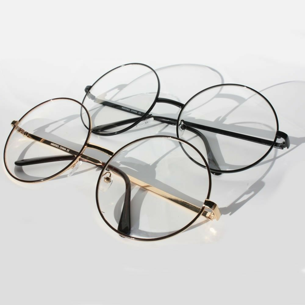 Gold Frame Circle Glasses : Vintage Retro Clear Lens Metal Oversized Circle Round ...