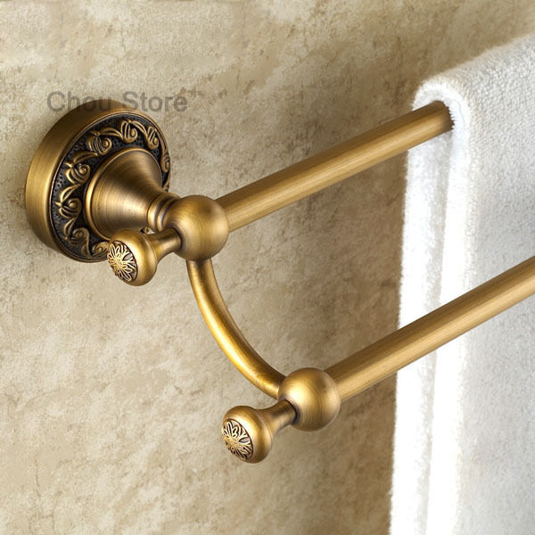 Antique Brass Bathroom Towel Rack Wall Mount Double Rail Towel Bar Holder M047 Ebay
