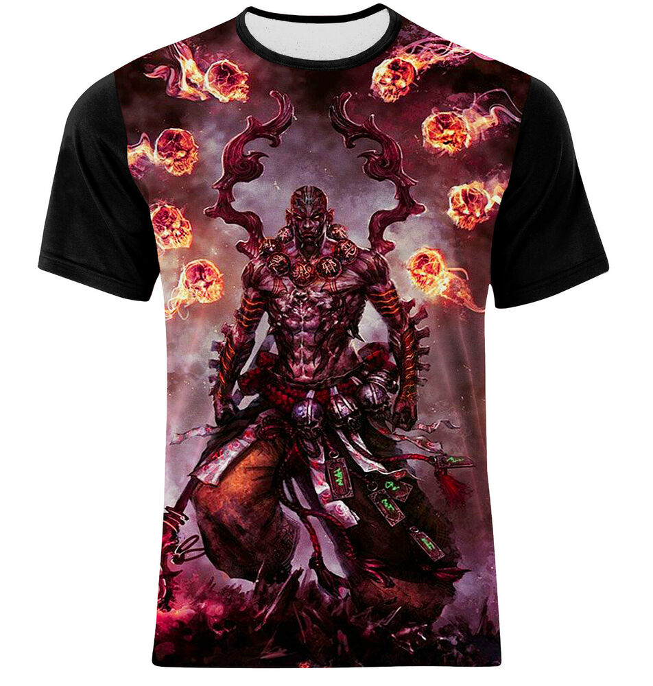God of evil double side full print multi color graphic art for Full size t shirt printing
