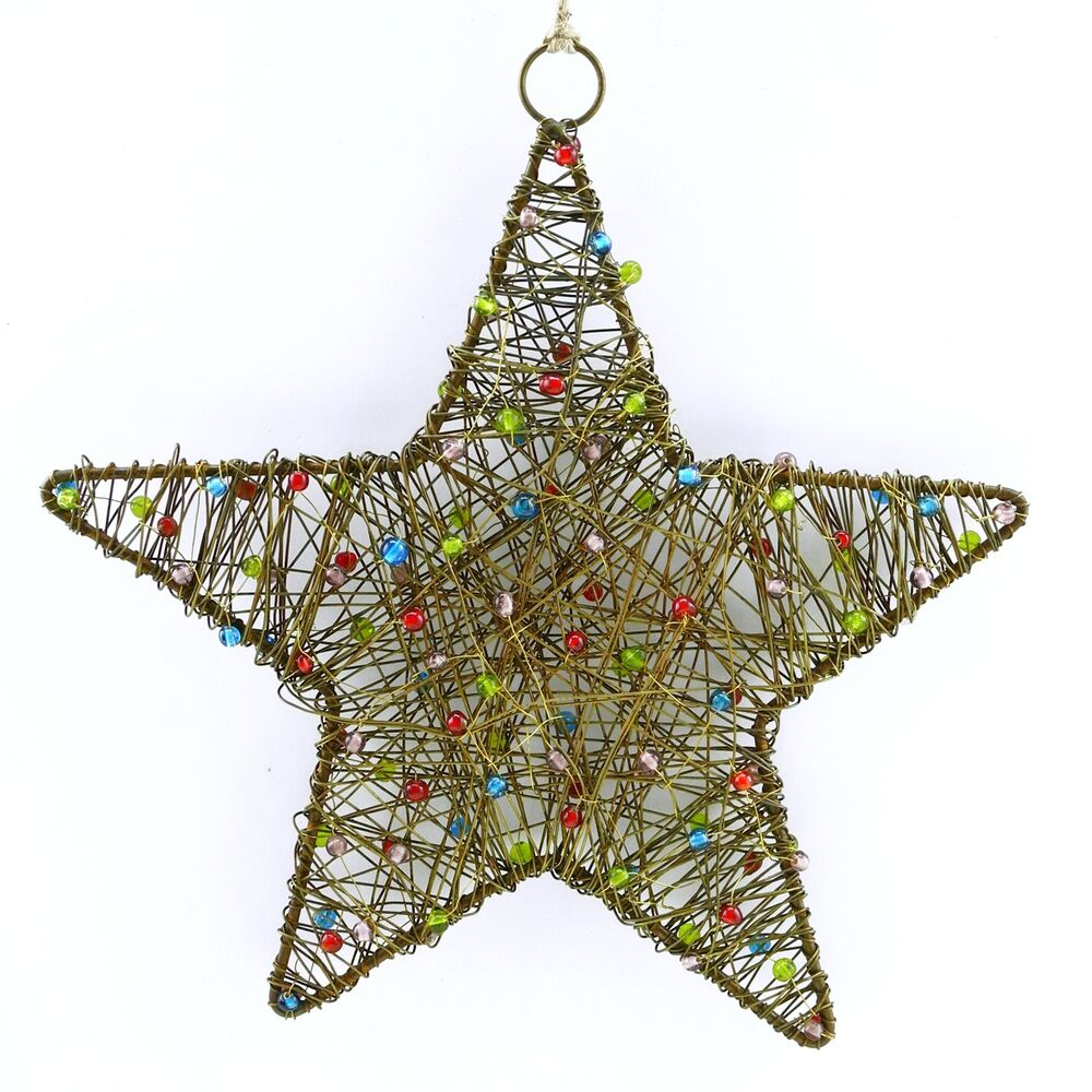 Rustic beaded hanging stars christmas ornaments wall for Outdoor hanging ornaments