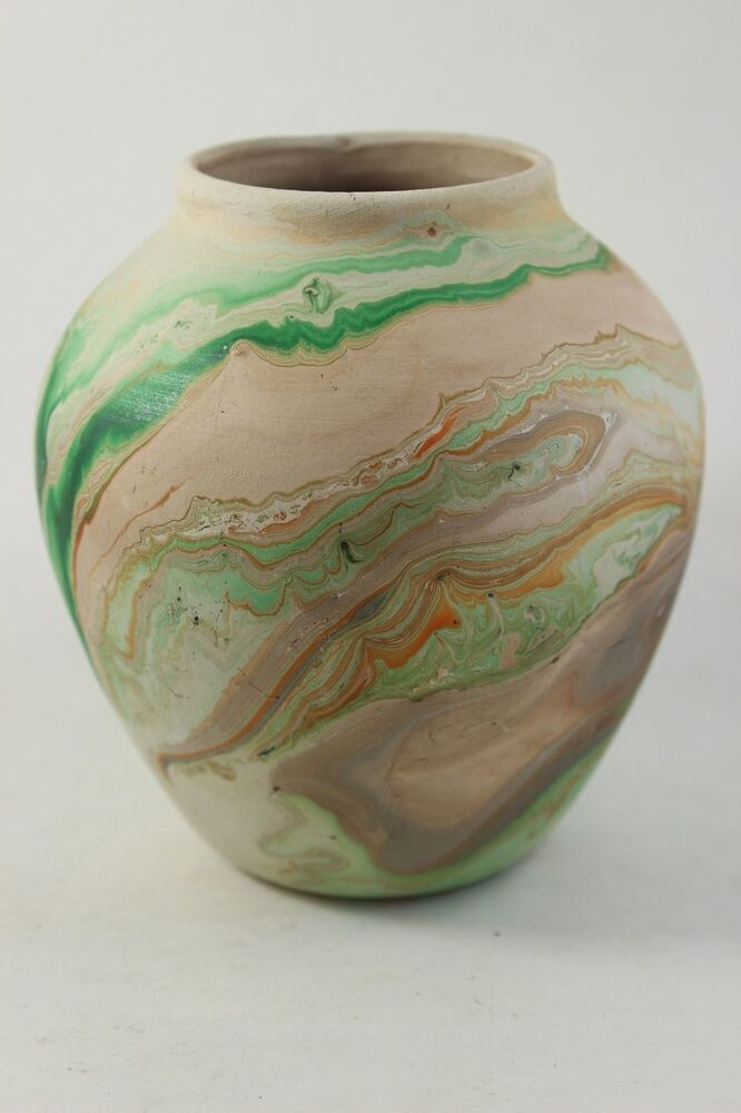 Vintage Nemadji Pottery Swirl Vase Green Orange Clay Signed Ebay