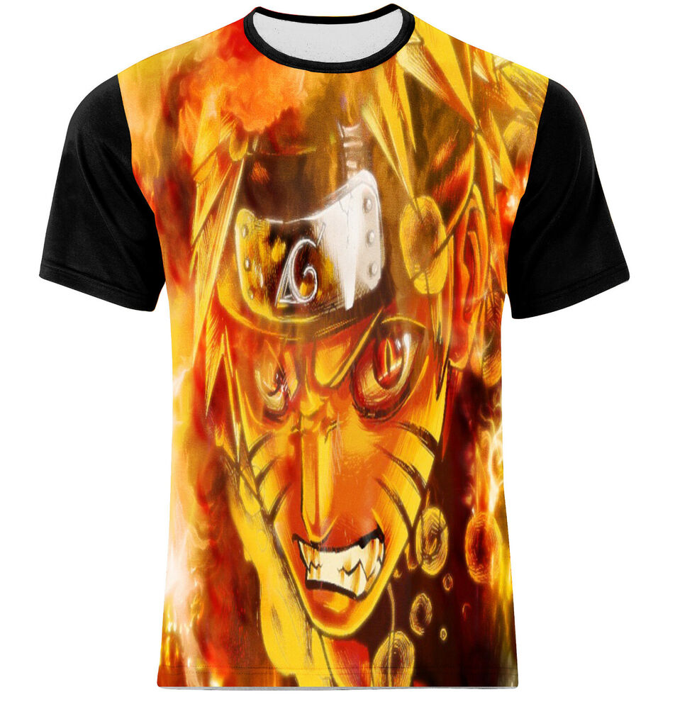 Nine tails and naruto comics hero full print multi color for Full size t shirt printing