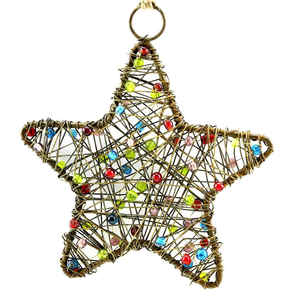 Christmas Tree Rustic Ornament, Handmade Beaded Wire Star ...