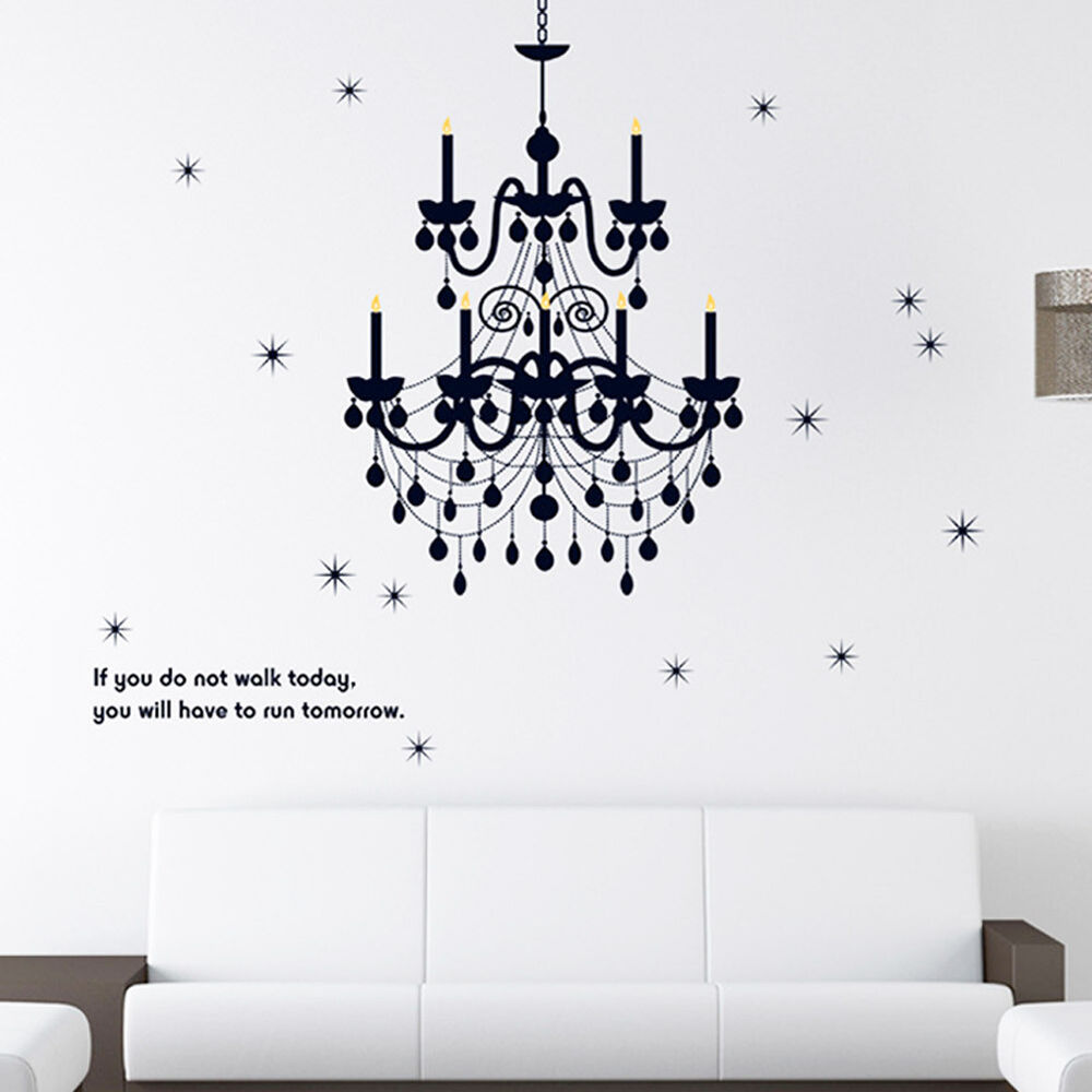 Chandelier removable vinyl words quote wall stickers for Room decor stickers