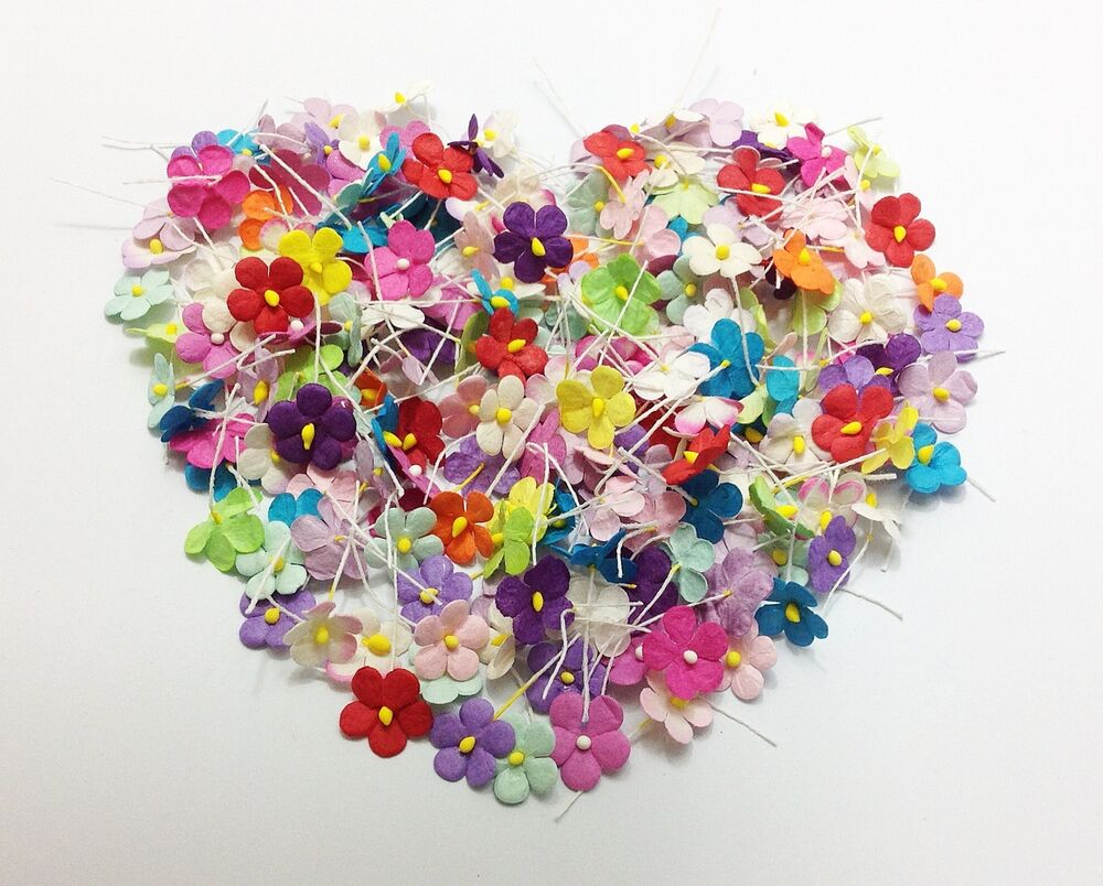 200pcs mixed random colors1 small flowers paper card