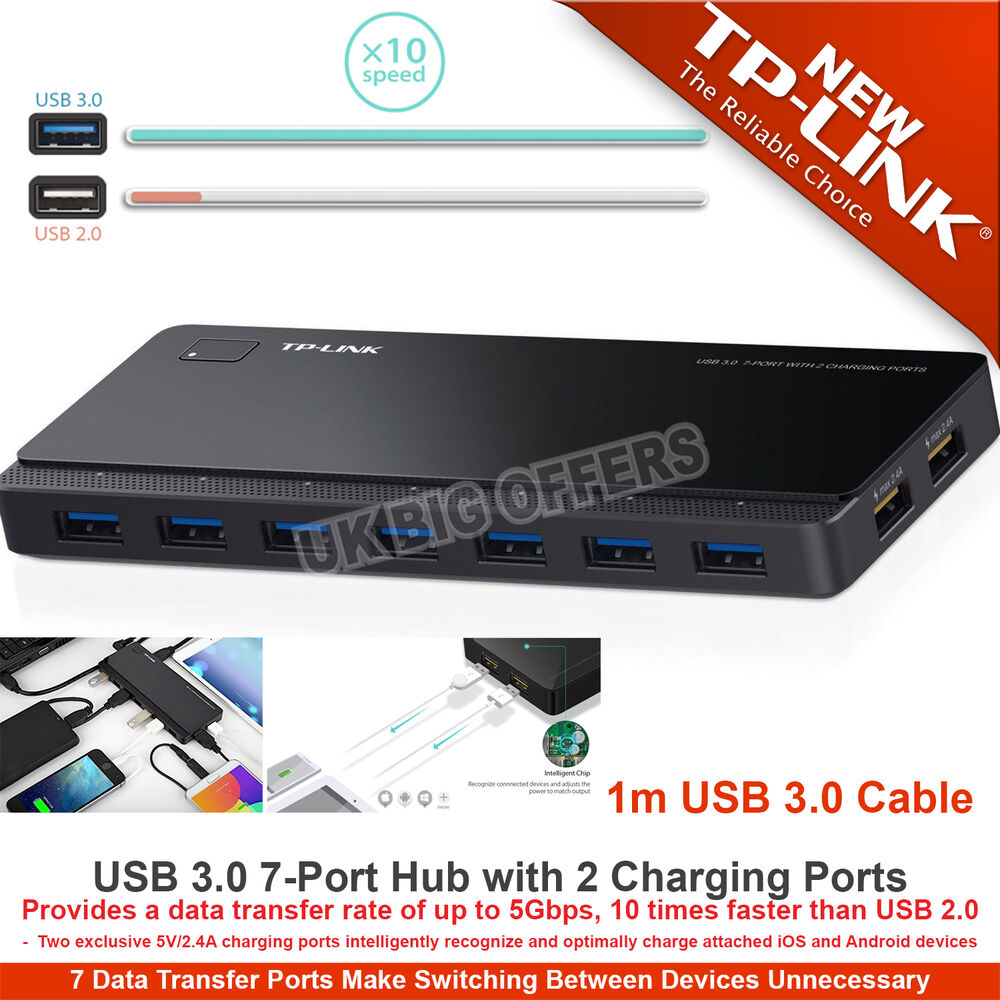 TP-Link USB 3.0 7-Port Hub with 2 Charging Ports for ...